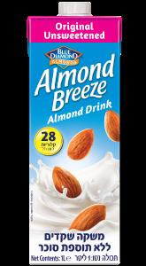 משקה שקדים Almond Breeze ללא תוספת סוכר